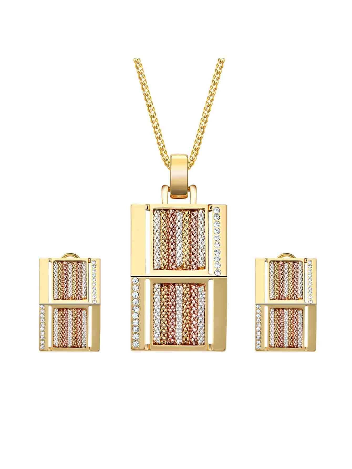 Rhinestone Bar Pendant Necklace & Earrings