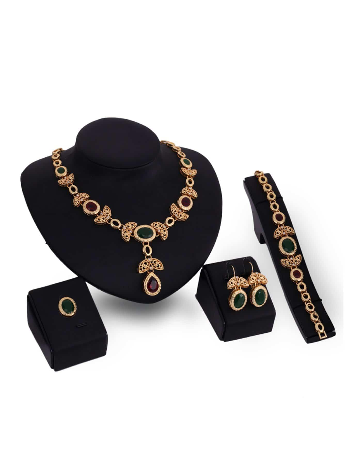 Halskette mit ausgehöhltem Blatt Anhänger, Armband, Ring und Ohrringe