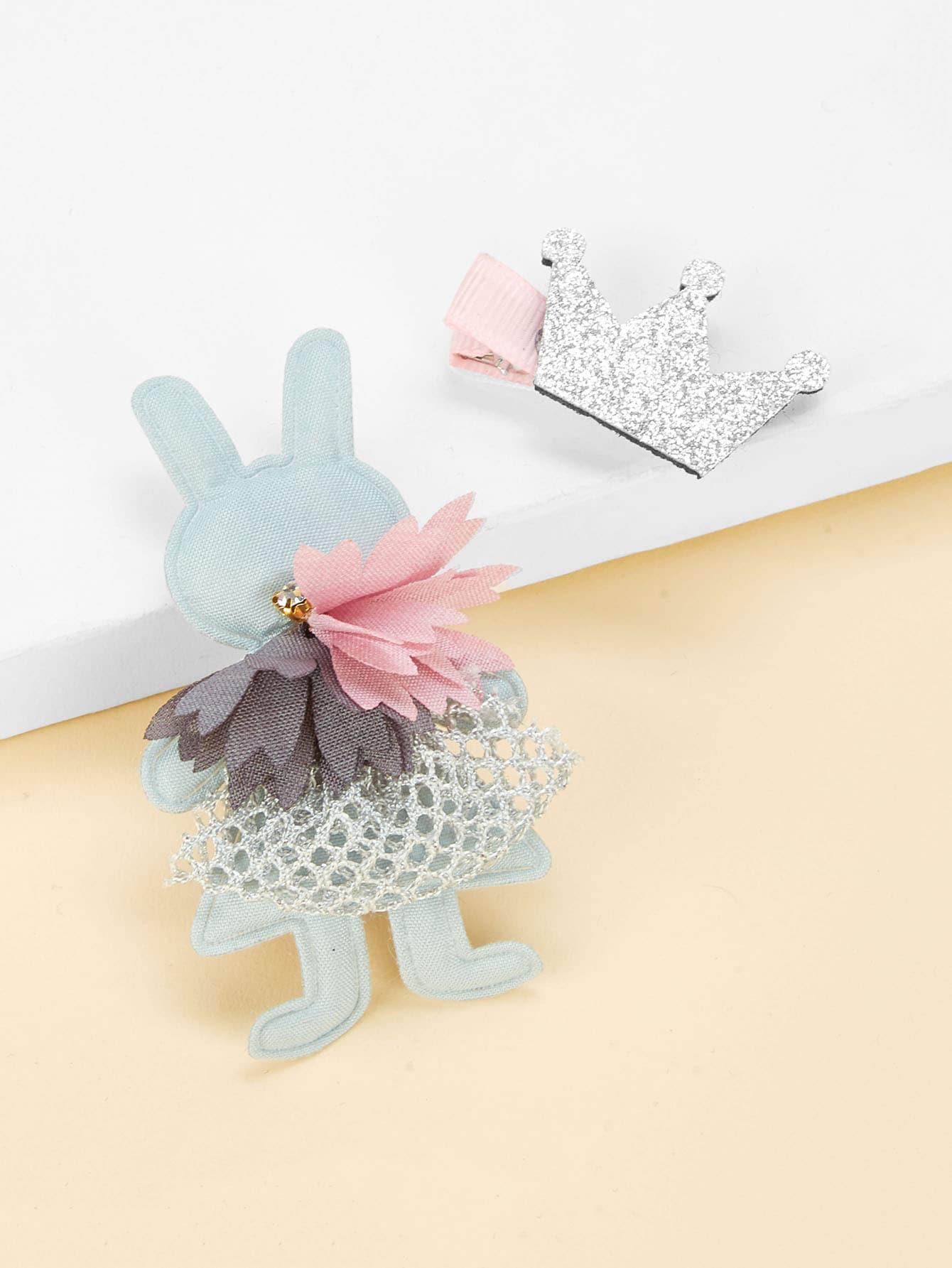 Купить Комплект заколок для волос 2 шт. для детей кролики и корона, null, SheIn