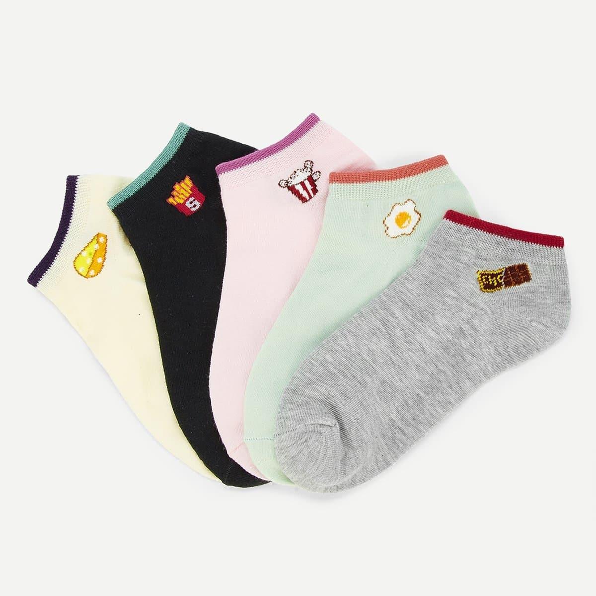 Contrast Cuff Below Ankle Socks 5 Pairs