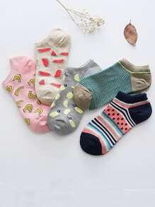 Fruit Pattern Ankle Socks 5pairs