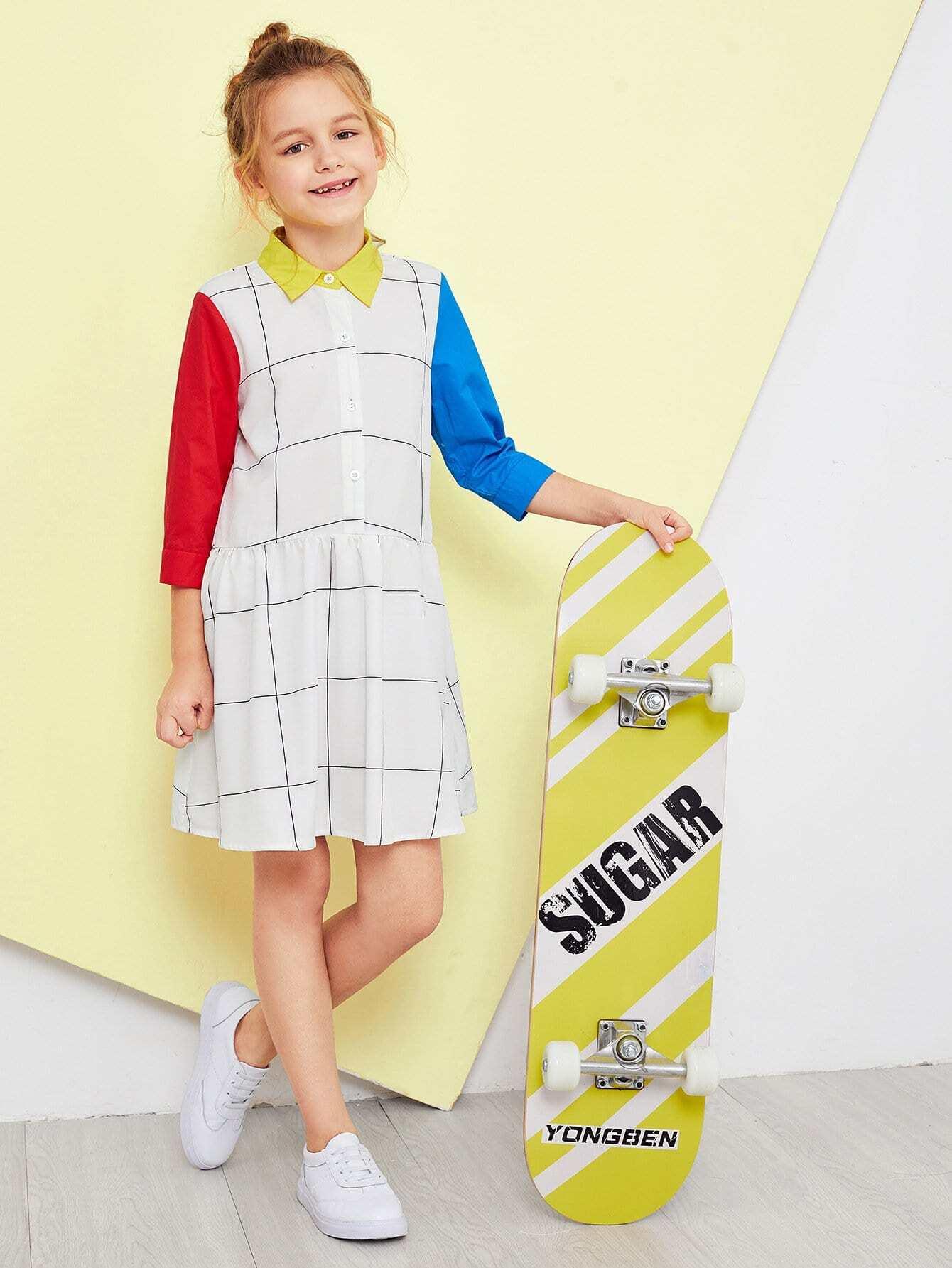 Купить Девушки вырезать и вышивать воротник сетки платье, Sashab, SheIn