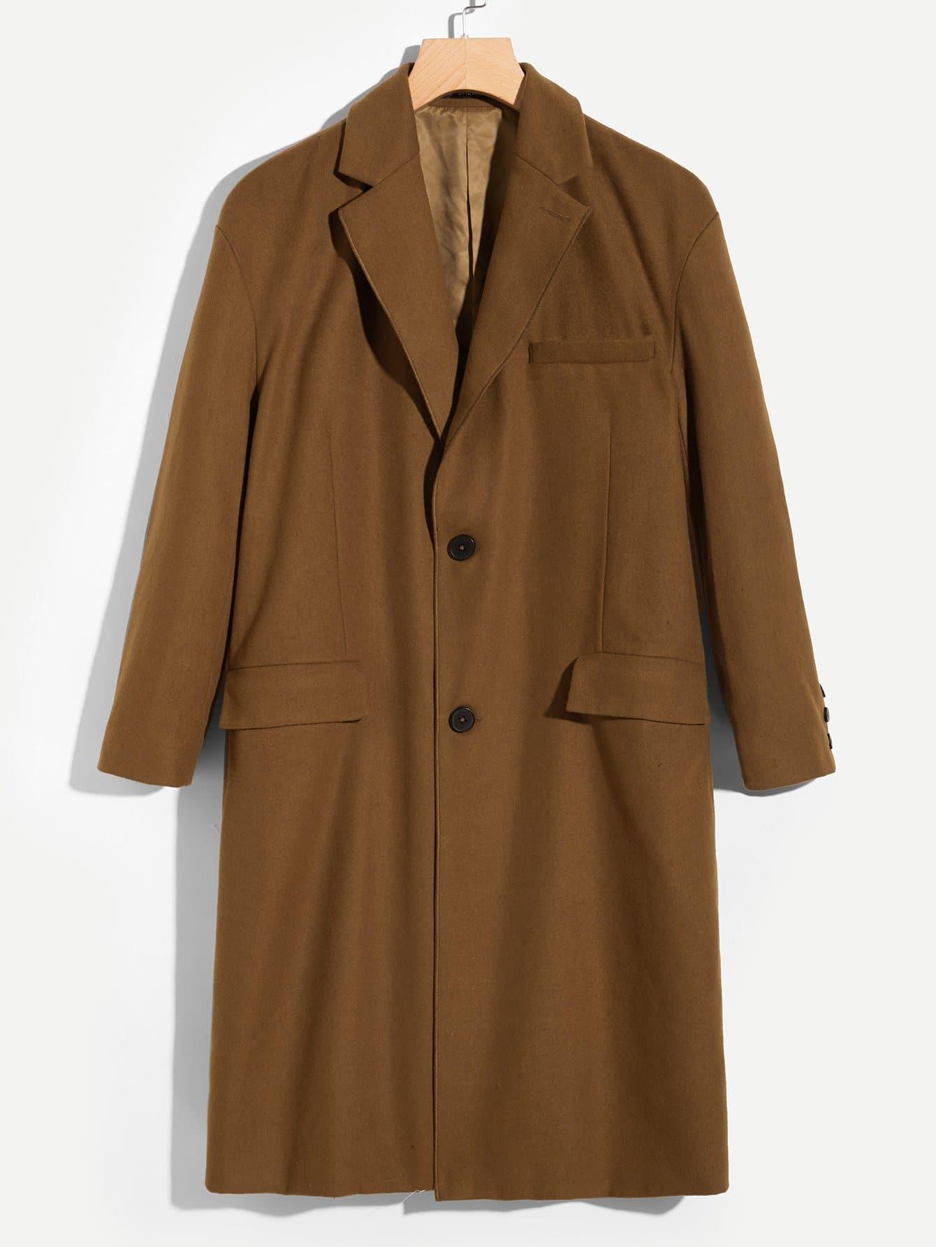 Купить Мужское однобортное шальное пальто, null, SheIn