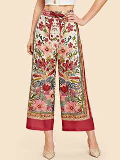 Waist Knot Floral Wide Leg Tribal Pants