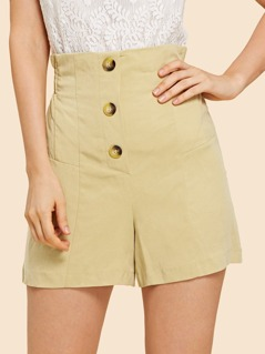Button Front Elastic Waist Shorts