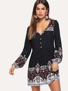 Paisley Print Half Placket Smock Dress