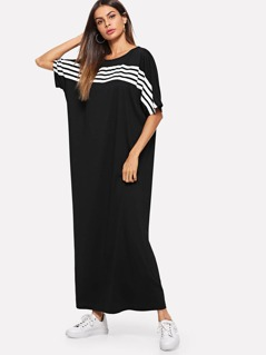Batwing Sleeve Striped Maxi Oversized Dress