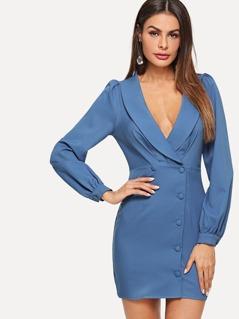 Shawl Collar Button Front Surplice Wrap Dress