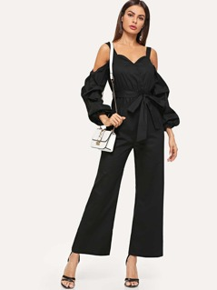 Cold Shoulder Gathered Sleeve Self Belted Jumpsuit