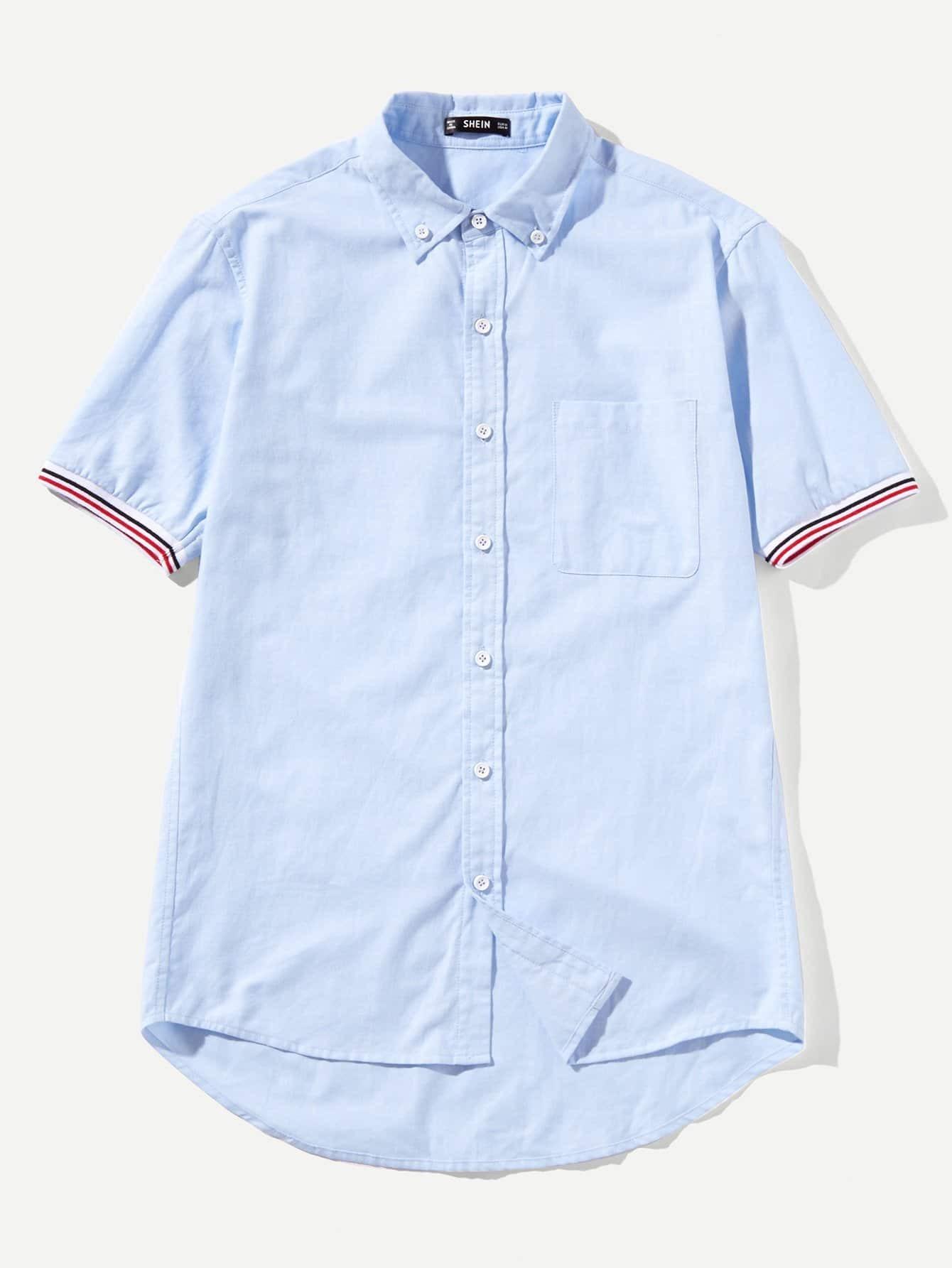 Купить Мужская контрастная полосатая триммерная рубашка, null, SheIn