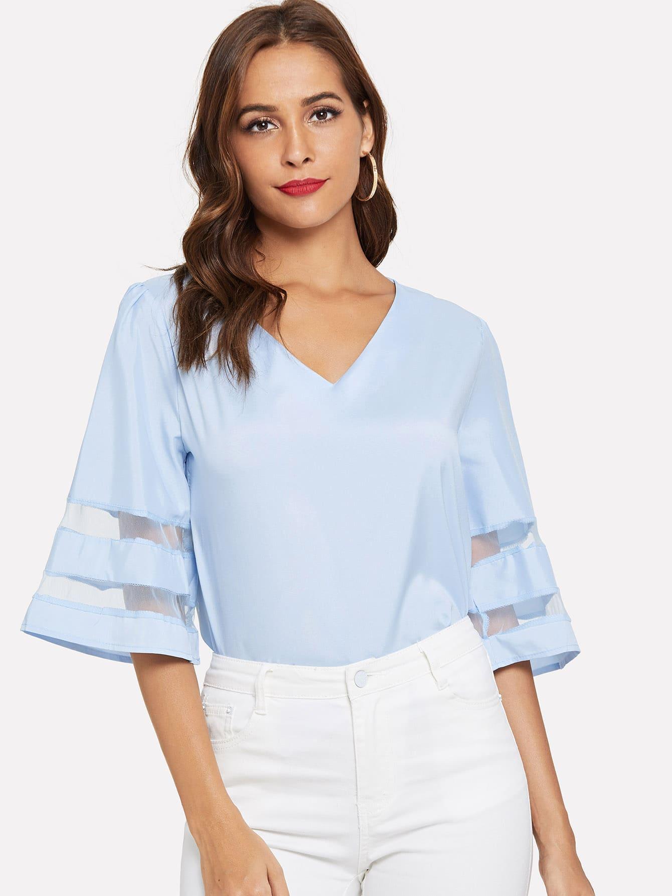 Купить Повседневный Одноцветный Контрастная сетка Синий Блузы+рубашки, Giulia, SheIn