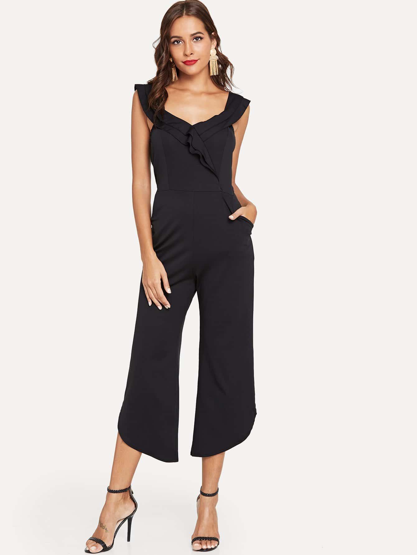 Купить Элегантный Одноцветный с карманами Платье Черный Комбинезон, Giulia, SheIn