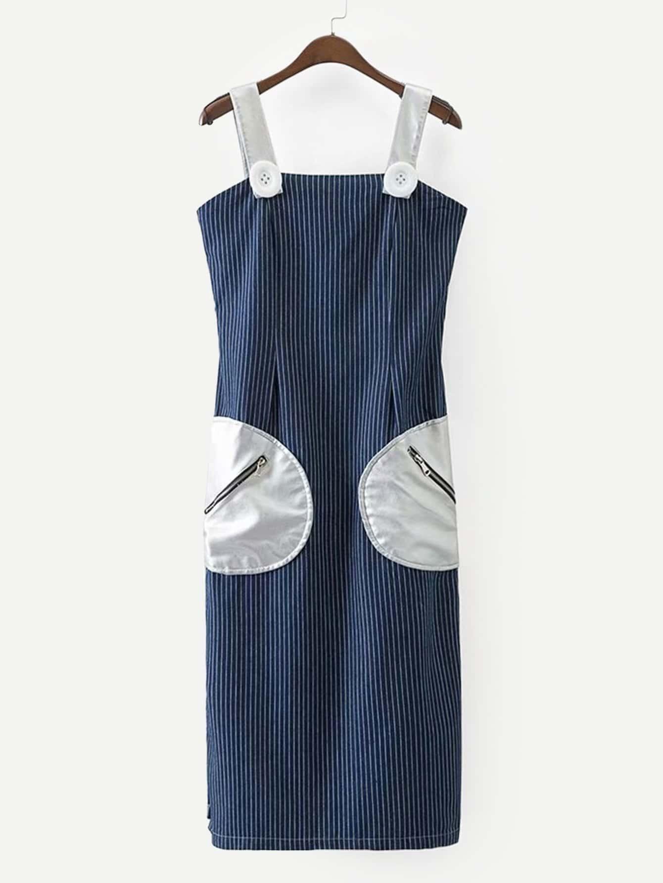 Купить Тонкое полосатое джинсовое платье и со симметриескими карманами, null, SheIn