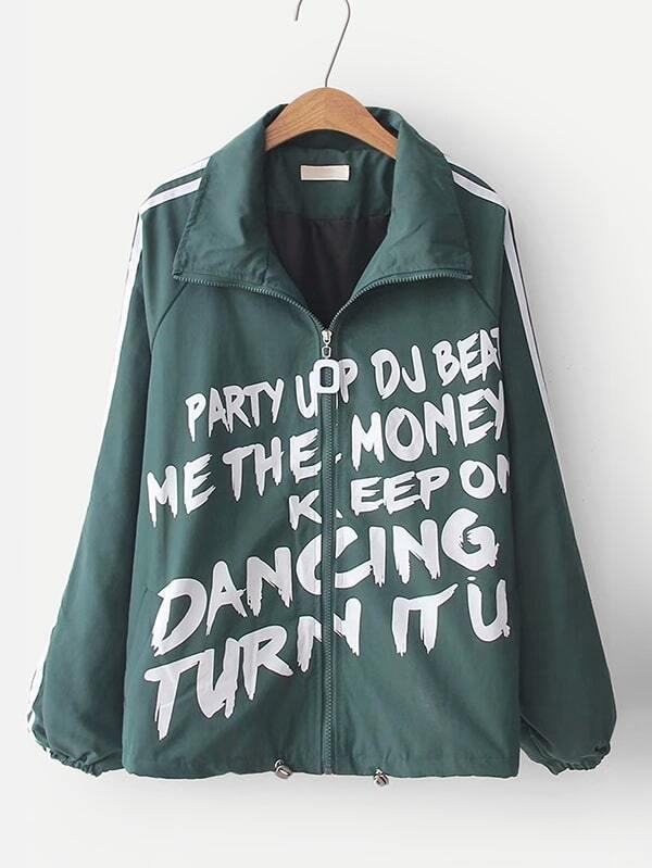 Купить Куртка с рисунками лозунгов и с украшением ленты по обе стороны, null, SheIn