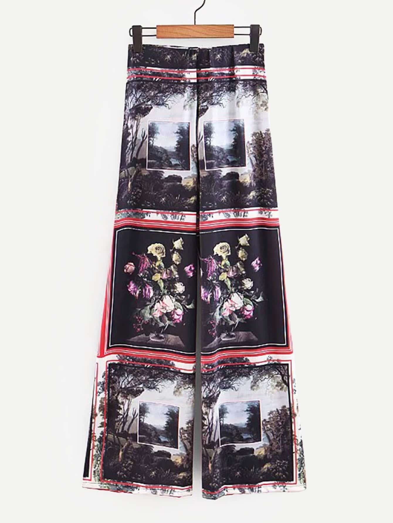 Купить Широкие ножные штаны и с рисунками живописи масляными красками, null, SheIn