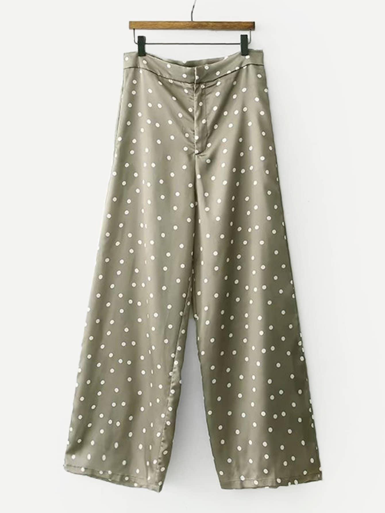 Купить Широкие ножные штаны с рисунками точк, null, SheIn