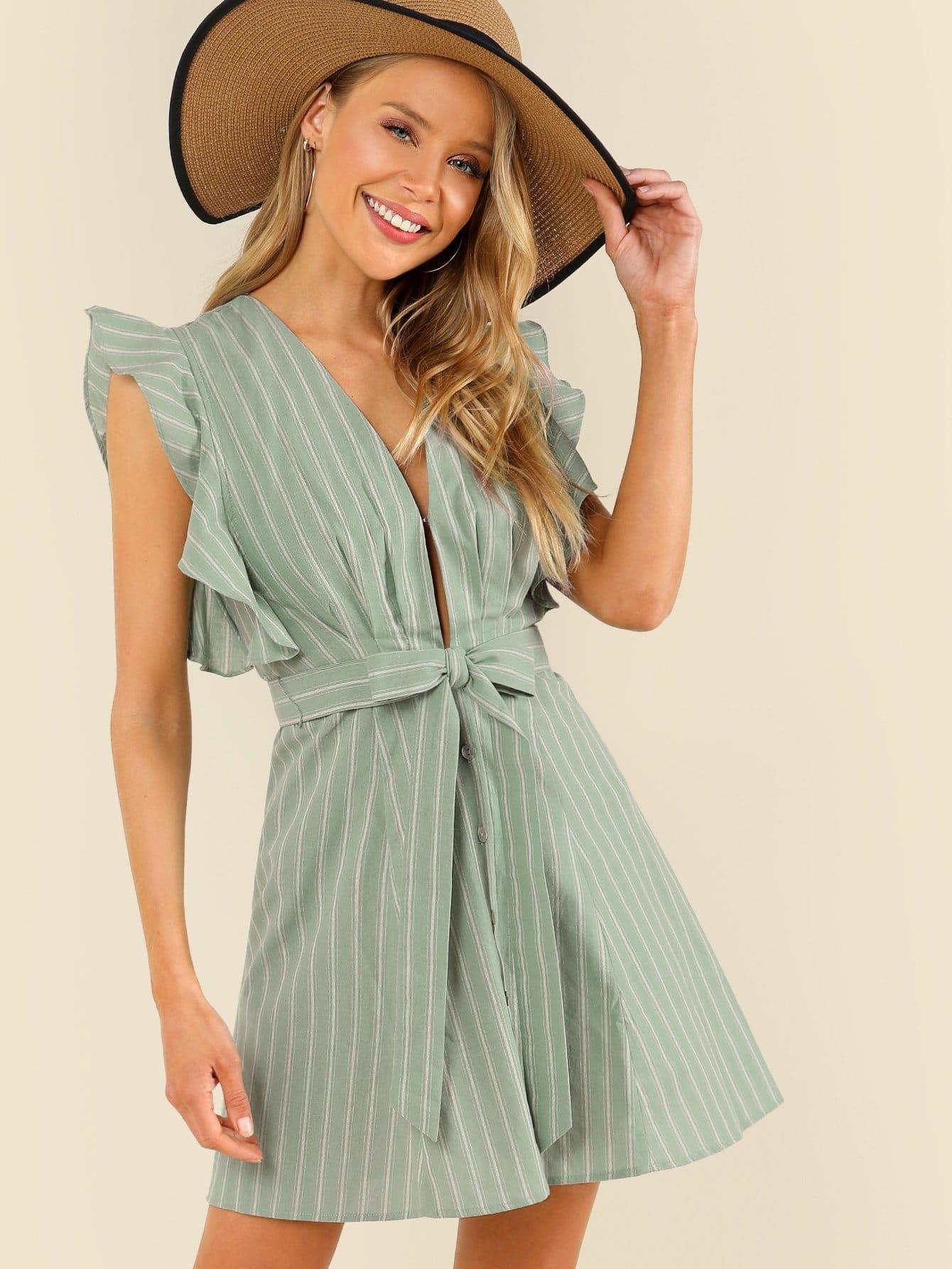 Купить Румяное украшенное полосатое полосатое платье, Allie Leggett, SheIn