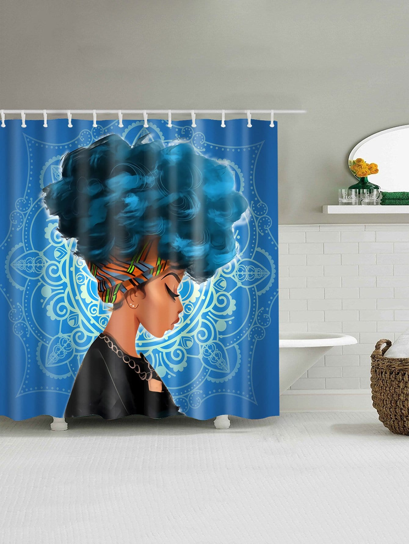 Figure Pattern Shower Curtain With 12pcs Hook