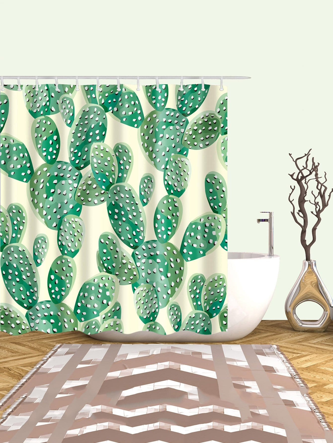 Cactus Pattern Shower Curtain With 12pcs Hook Multicolor