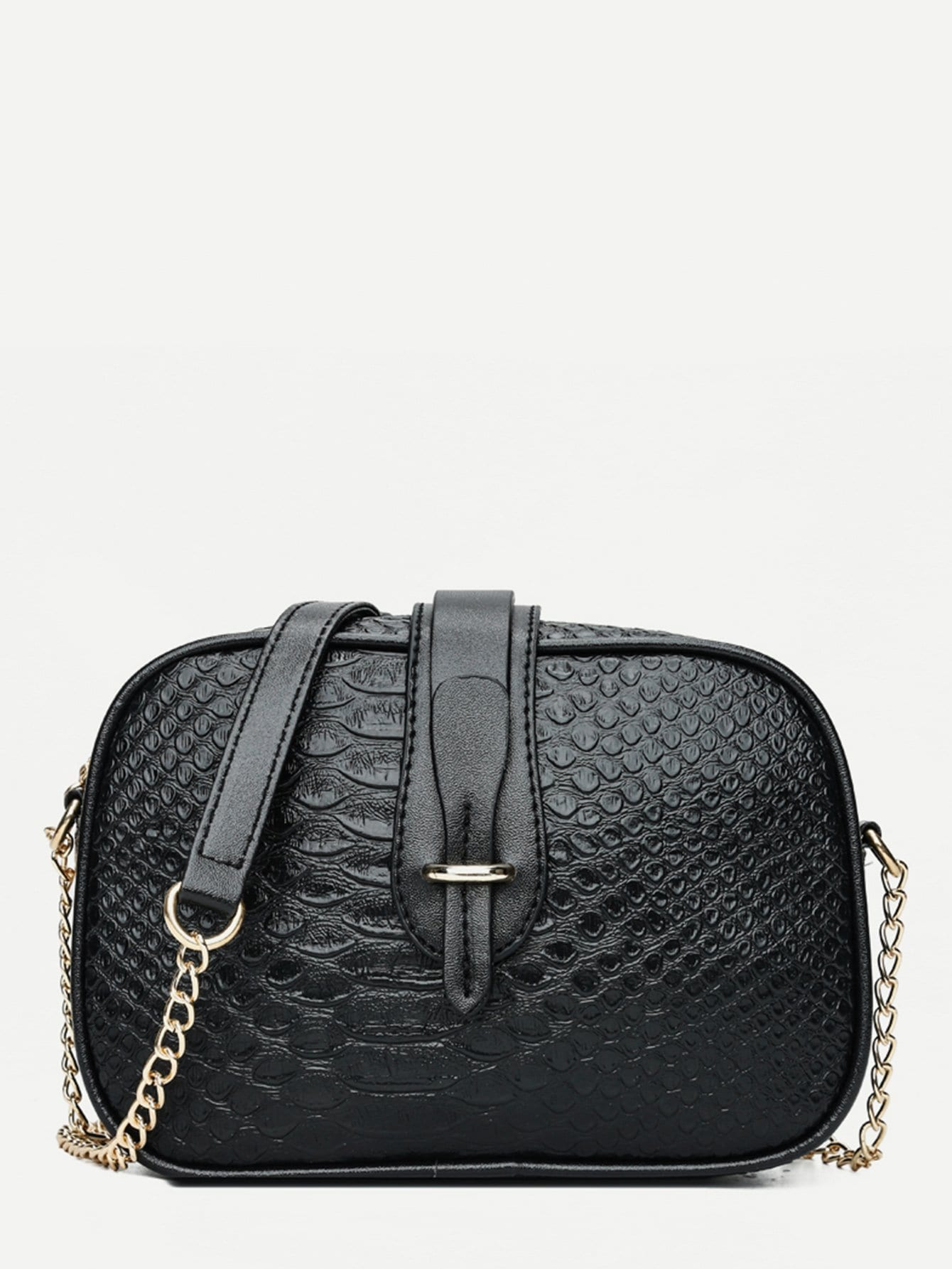 где купить Croc Embossed PU Chain Bag дешево