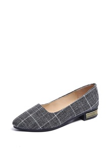 Grey Comfort Plaid Flats, size features are:Bust: ,Length: ,Sleeve Length: