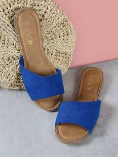 Faux Suede Single Band Peep Toe Slide Sandal