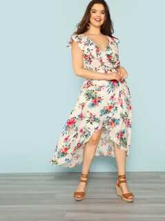 Plus V-Neck Floral Dress