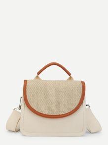 Straw Panel Contrast Trim Shoulder Bag