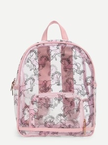 Unicorn Print Clear Backpack