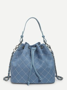 Quilted Stitch Drawstring Bag