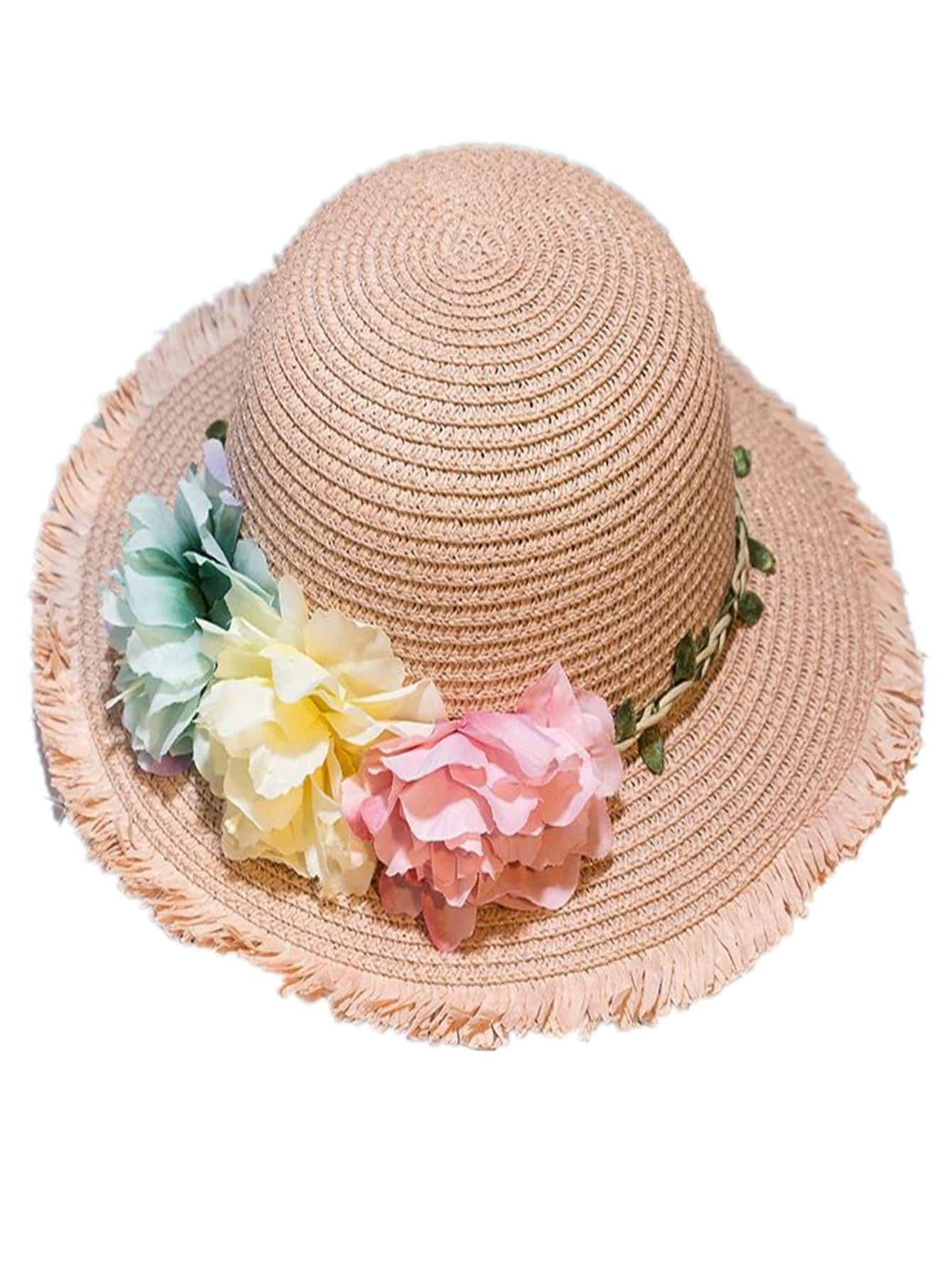 Купить Соломенная шляпа и с украшением цветов и с рваными оборками для девочки, null, SheIn