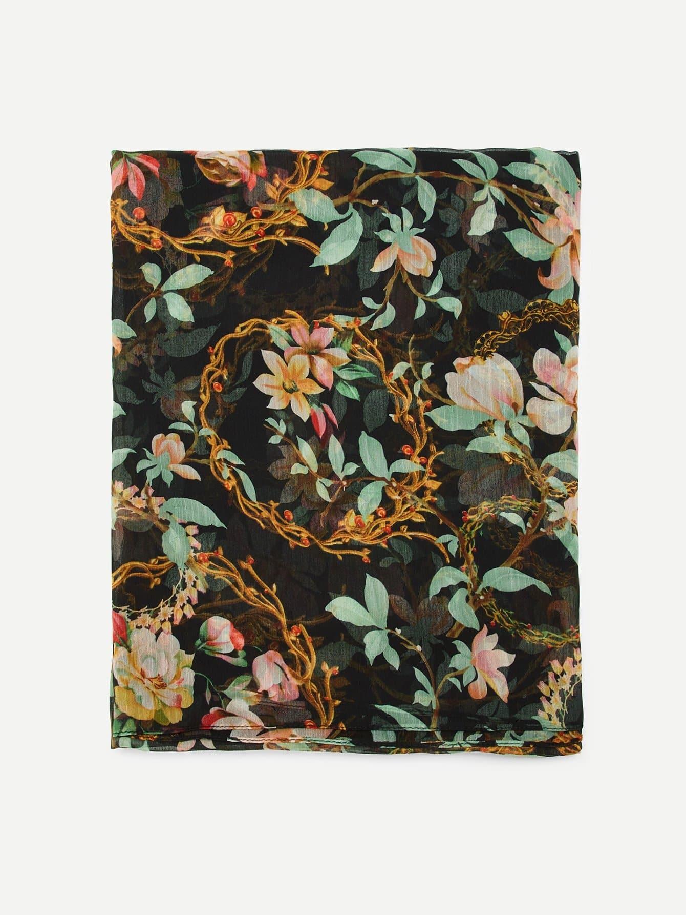 Купить Шарф с рисунками цветов, null, SheIn