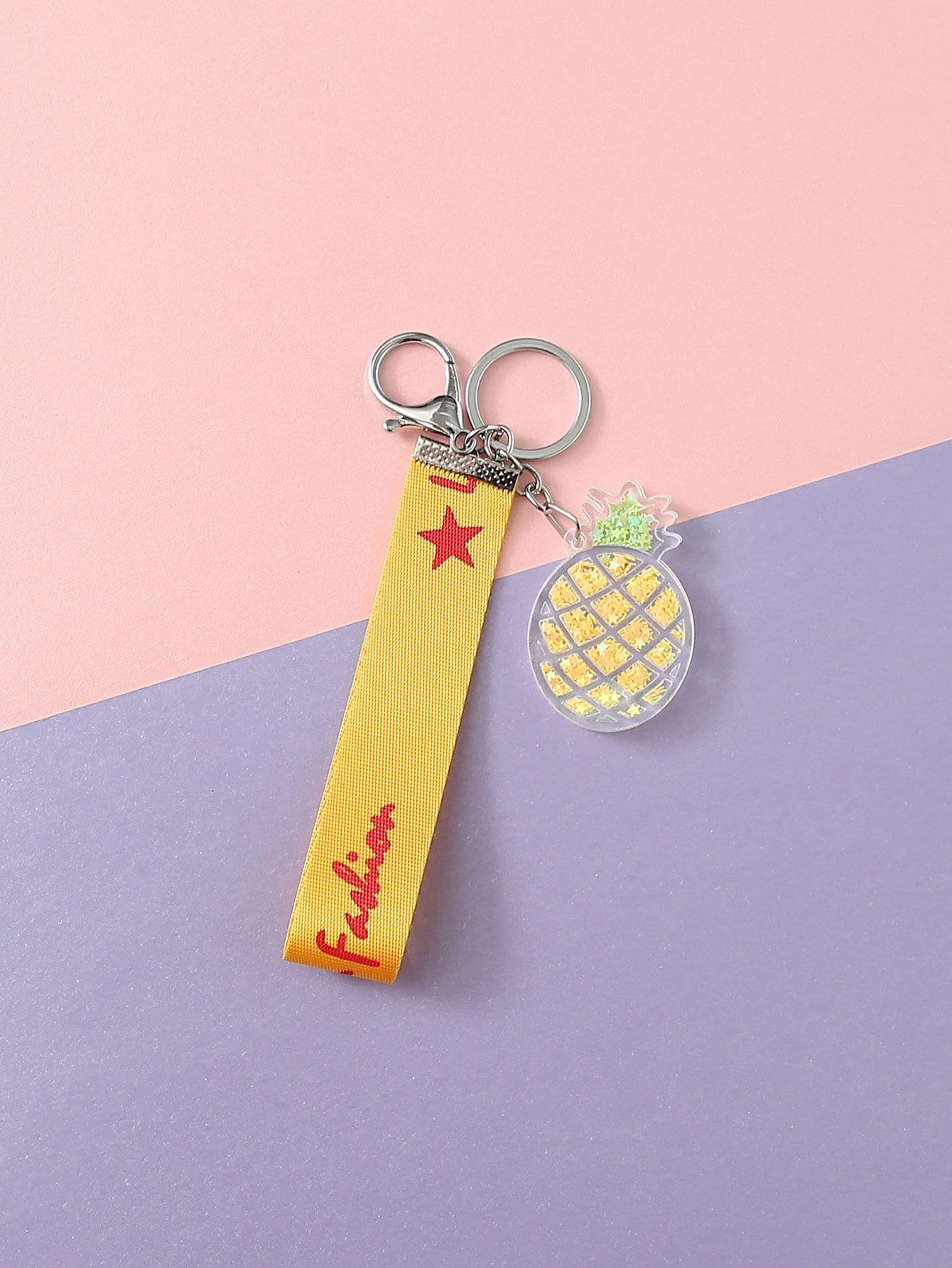 Letter Print Pineapple Detail Keychain pineapple shaped keychain
