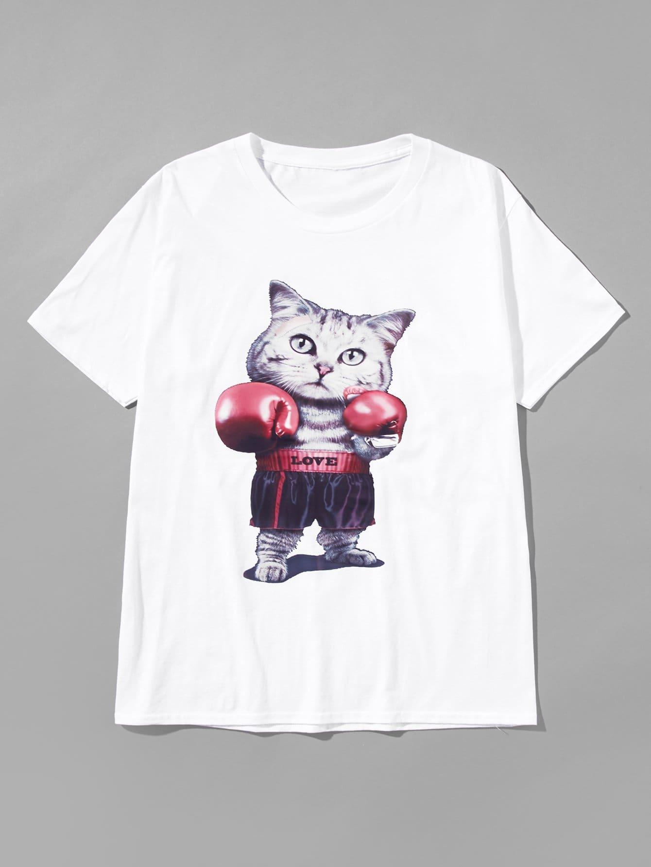 Men Cat Print Tee майка print bar air zero