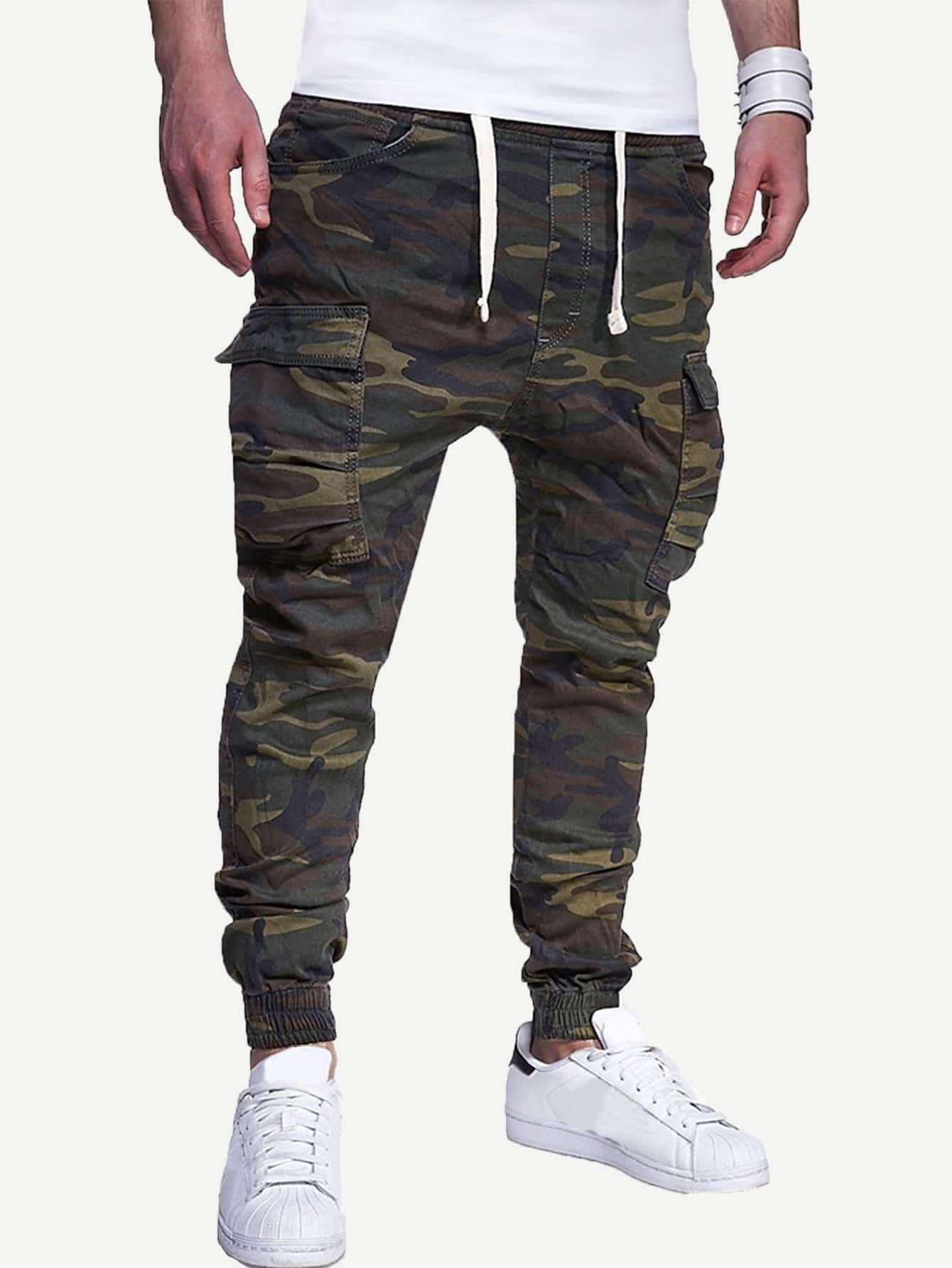 Купить Мужские карманные брюки для печати Camo, null, SheIn