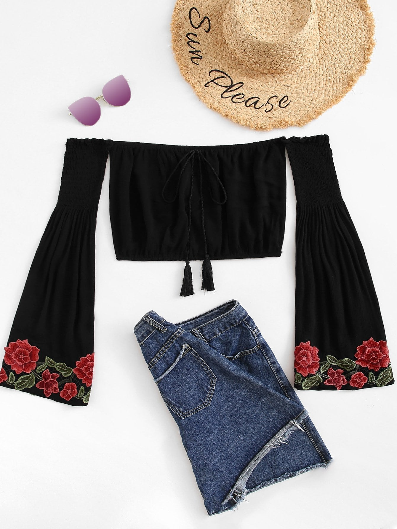 Bardot Embroidered Applique Flare Sleeve Crop Top