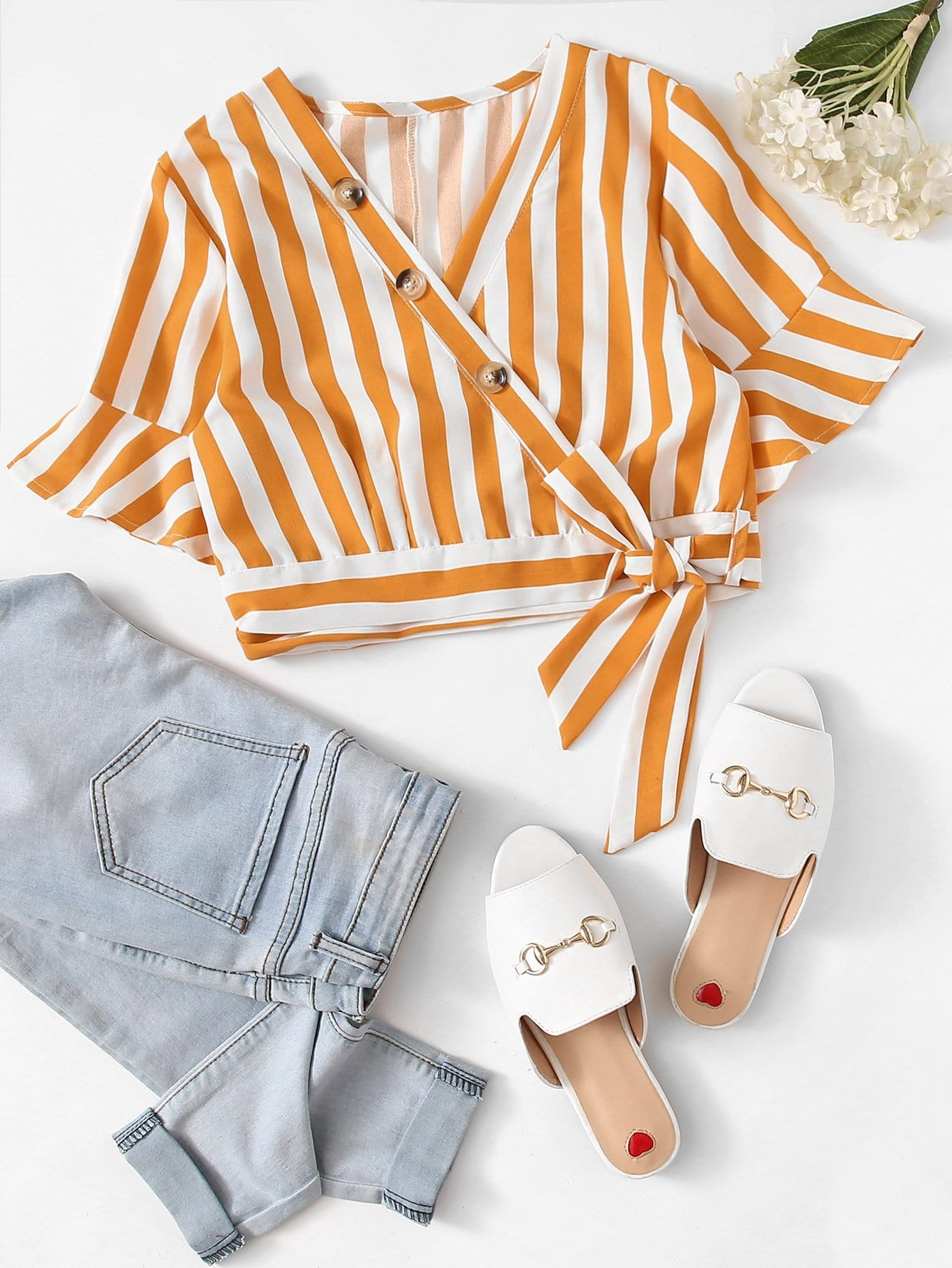 Fluted Sleeve Knot Side Striped Blouse