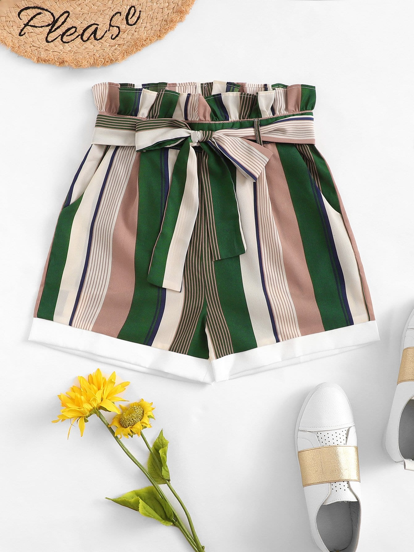 Frill Trim Striped Shorts With Belt