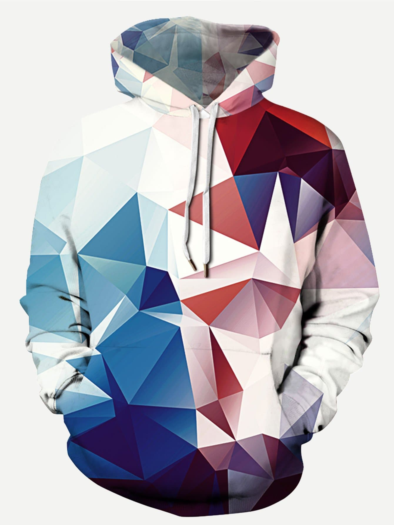 Men Abstract Geo Print Hooded Sweatshirt abstract geo print overall dress