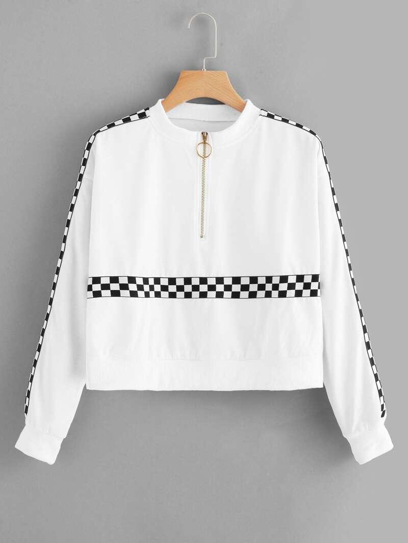 Gingham Tape Zip Up Sweatshirt, White