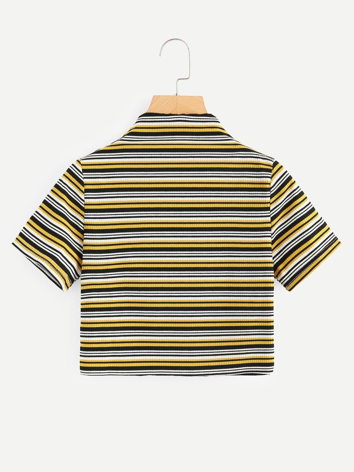 цена на Striped Ribbed Mock Neck Crop Tee