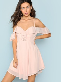 Ruffle Trimmed Bodice Mini Dress