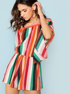 Striped Off The Shoulder Flared Sleeve Romper
