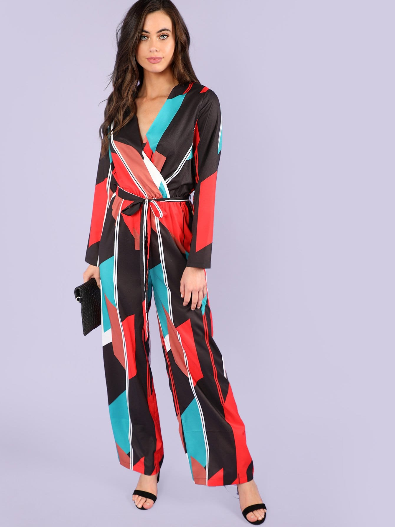 Geo Print Self Belted Surplice Wrap Jumpsuit surplice self tie halter jumpsuit