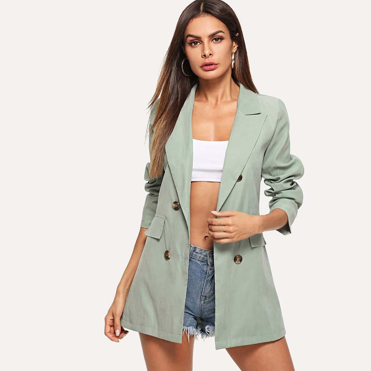 Двубортный простой пиджак от SHEIN