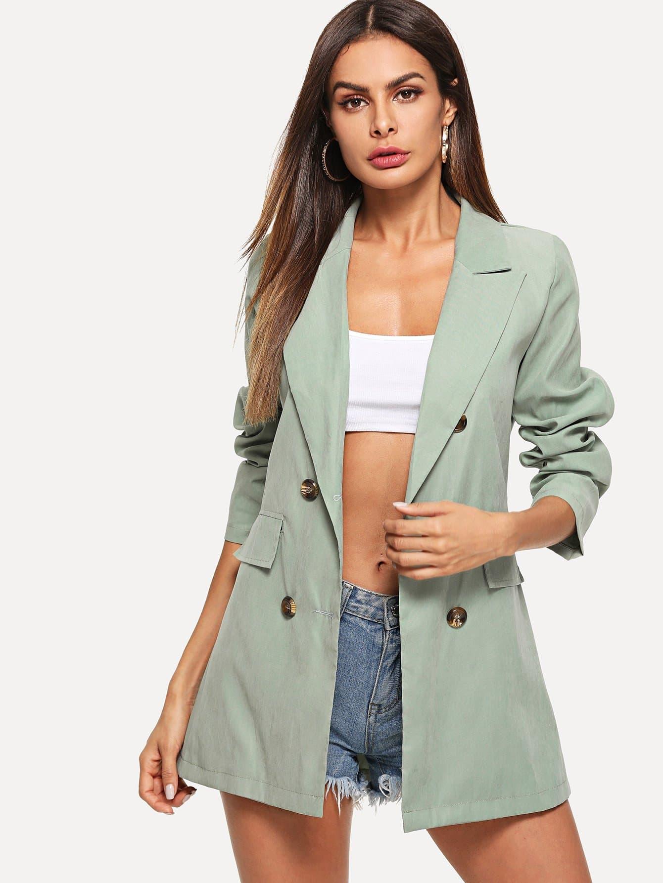 Купить Двубортный простой пиджак, Andy, SheIn