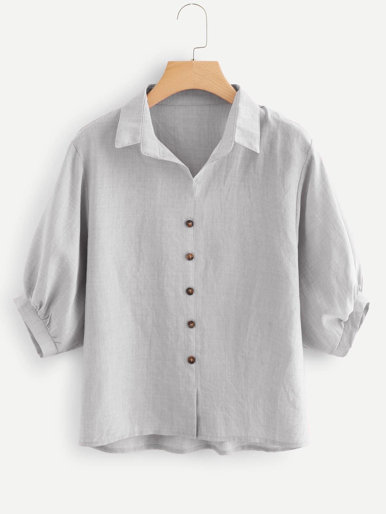 Купить Повседневный Одноцветный Пуговица Серый Блузы+рубашки, null, SheIn