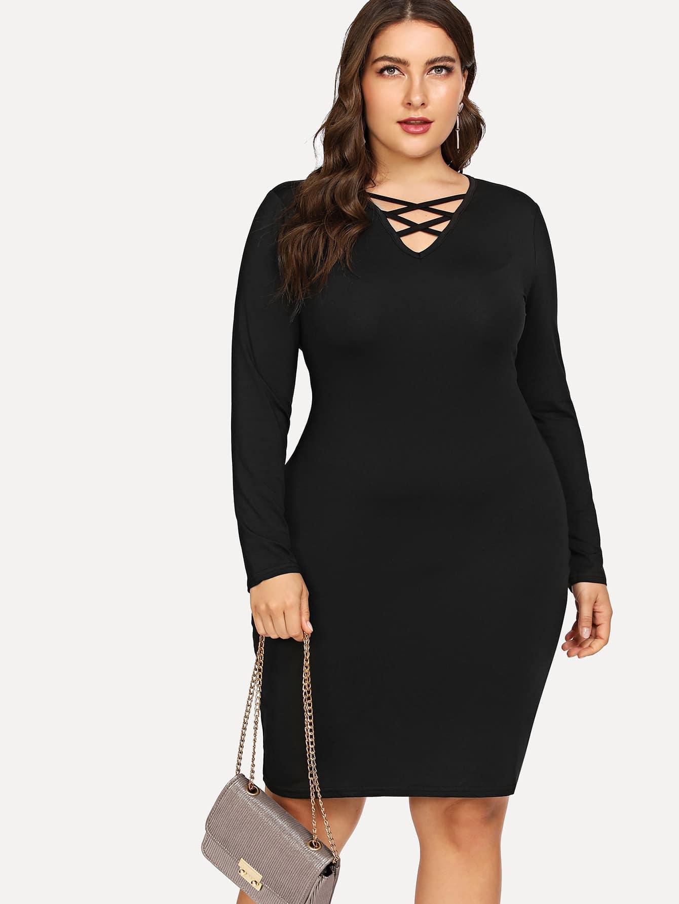 Купить Простое платье и с лентами пересечения перед одежды, Franziska, SheIn