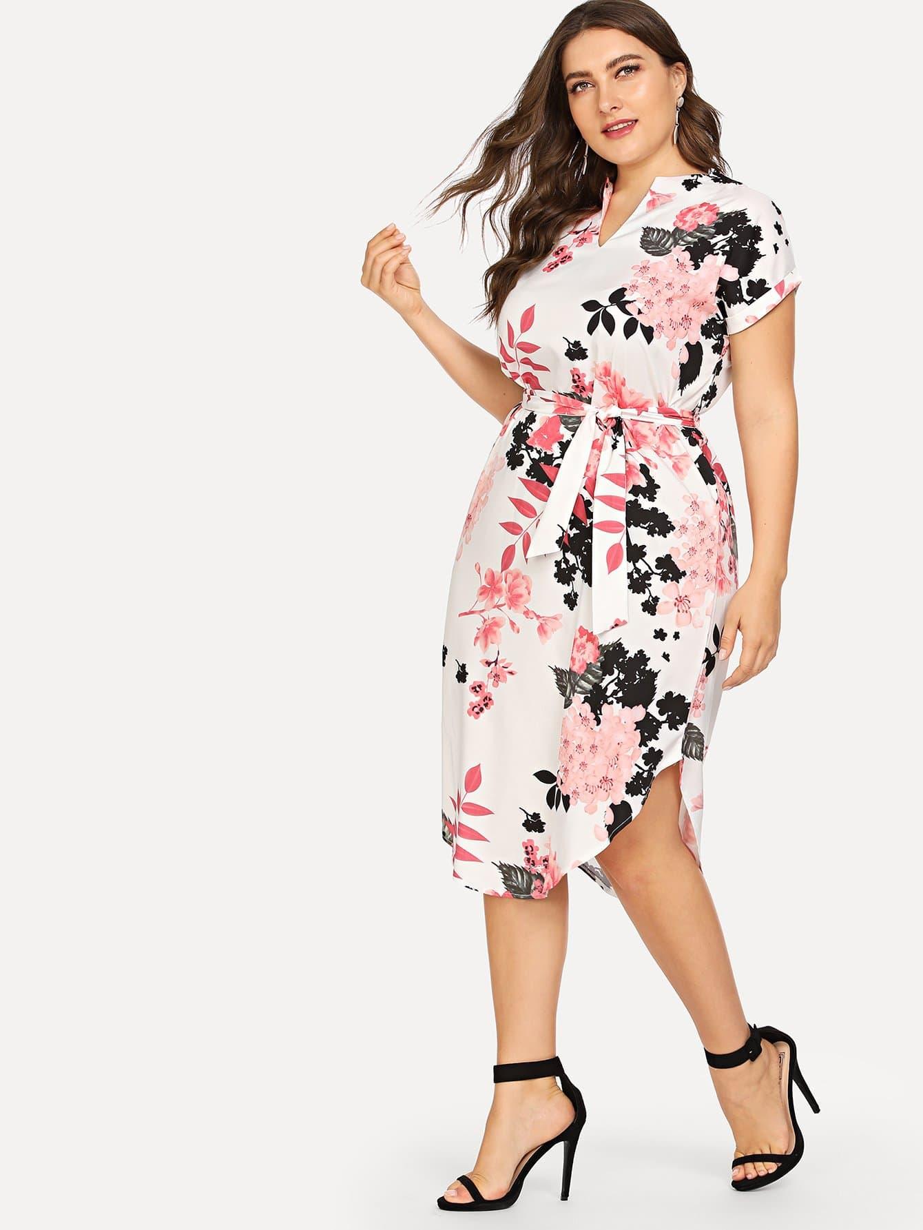 Купить Большое платье с поясом и рольный подол, Franziska, SheIn