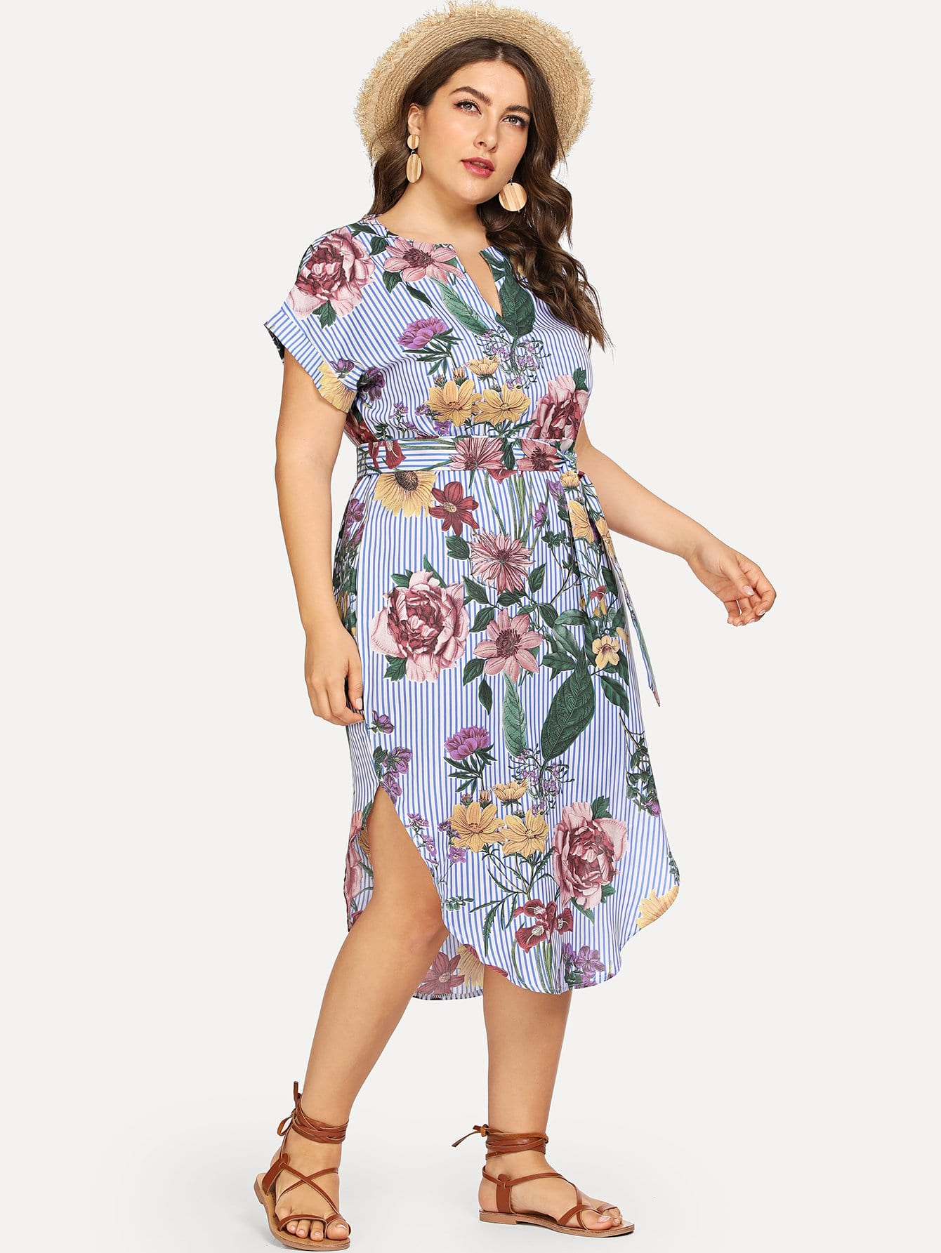 Купить Большое полосатое платье и с поясом и рольный подол, Franziska, SheIn